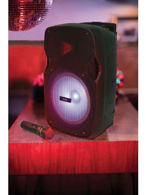 PARTYHØYTALER PAL10 m/Trådløs Mikrofon, Bluetooth og LED FX