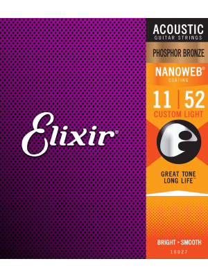 ELIXIR NANOWEB PHOSPHOR BRONZE NANOWEB® Custom Light 11-52. Strenger til Akustisk gitar.