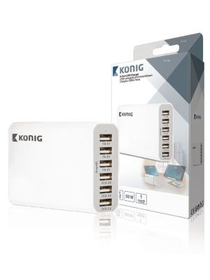 6-porters USB-lader, 10 A, 50 W, EU-plugg