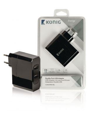 Vegg Lader 4.8 A med 2 USB porter