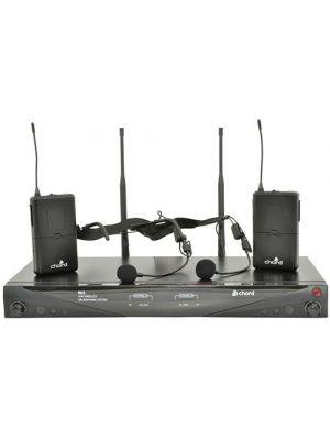 Trådløst mikrofonsystem m/ 2 stk nakkebøyle mikrofon