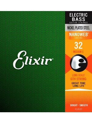 ELIXIR 15332 NANOWEB® Electric Bass Custom Singles 6th Medium C 0.032 . Strenger til Elektrisk bass.