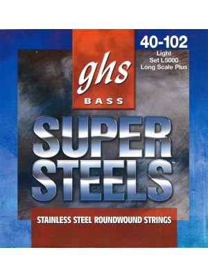 GHS 5ML-STB BASS. 5 STR SUPER STEELS MEDIUM LIGHT. STB44 STB63-STB98 STB121. Strengesett til elektrisk bass.