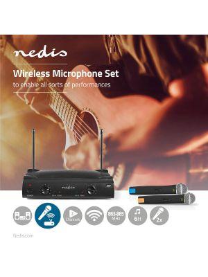 2-kanals Trådløst Mikrofonsett med 2 Mikrofoner - Opptil 6 Timers Batteri tid