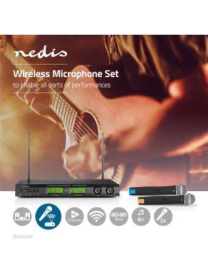 16-kanalers Trådløst mikrofonsett med 2 Mikrofoner