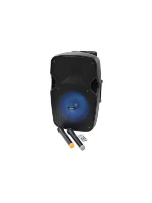 PARTYHØYTALER PAL12 med 2 stk Trådløse Mikrofoner, Bluetooth og Flerfaget LED-lys