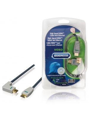HDMI-kabel med Ethernet HDMI-kontakt - HDMI-kontakt (venstrevinklet) 1.0m