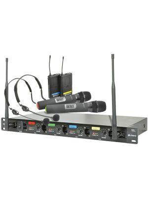 Trådløst mikrofonsystem m/ 2 stk håndholdte + 2 stk nakkebøyle mikrofoner