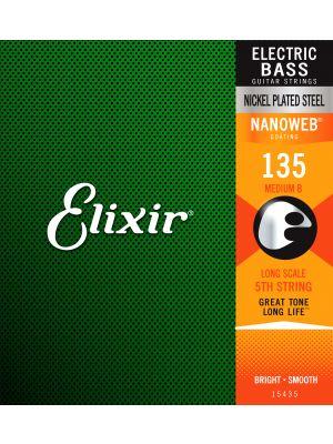 ELIXIR 15435 NANOWEB® Electric Bass Custom Singles 5th Heavy B .135L . Strenger til Elektrisk bass.