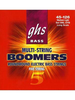 GHS 5ML-DYB BASS. 5 STR BOOMERS. MEDIUM LIGHT. DYB45-DYB126. Strengesett til elektrisk bass.
