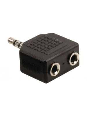 Stereo Audio Adapter 3.5 mm, Han - 2 stk. 3.5 mm, Hun Sort