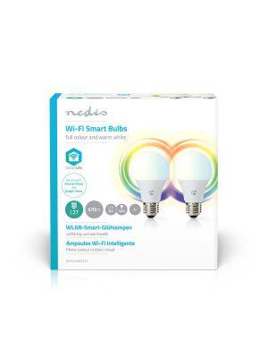 Wi-Fi-Smarte LED-Lyspærer Full farge og varmt hvitt E27, 2-pakning